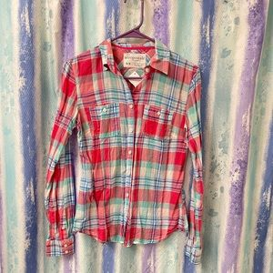 Aeropostale pink and blue plaid button up medium